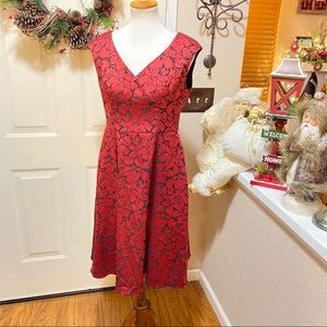 Holiday Poinsettia Design Adrianna Papell Dress